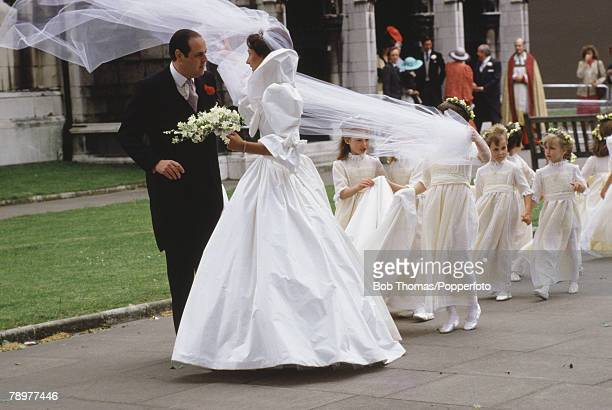 British Royalty Westminster Abbey London England The wedding of Lord Nicholas Soames to Catherine Wetherall Princess Diana attended the wedding...