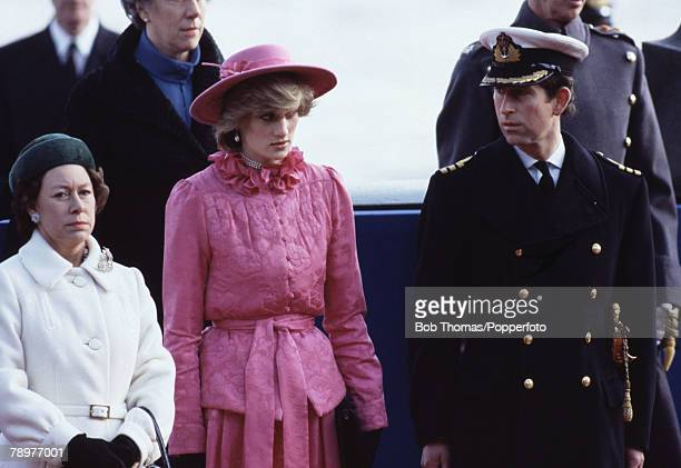 British Royalty Westminster Pier London England 16th November 1982 Prince Charles Princess Diana Princess Margaret ready to greet Queen Beatrix and...