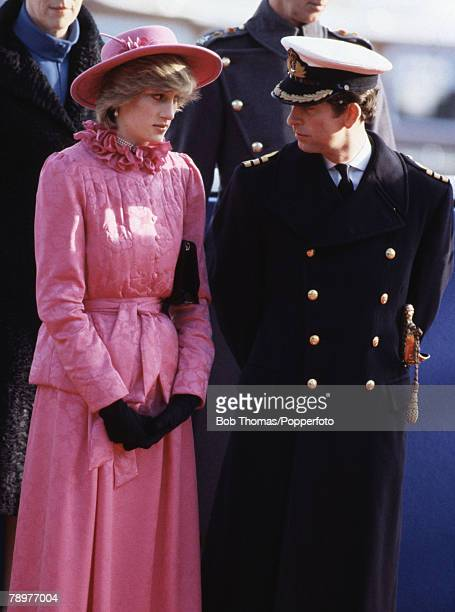 British Royalty Westminster Pier London England 16th November 1982 Prince Charles Princess Diana ready to greet Queen Beatrix and Prince Claus of the...