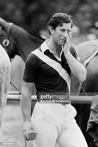 British Royalty Windsor England 18th May 1980 Prince Charles rubs his face with a hand and looks tired and exhausted after playing polo