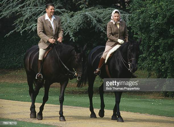 British Royalty Windsor England June 1982 Queen Elizabeth II rides on horseback with American President Ronald Reagan