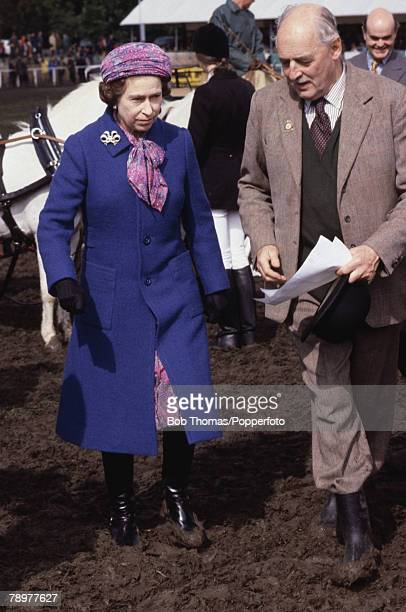British Royalty Windsor England May 1981 Queen Elizabeth II wearing a blue coat attending the Royal Windsor Horse Show