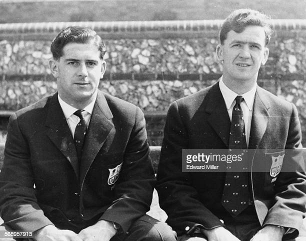 British rugby player Malcolm Thomas and Jeff Butterfield pictured in their suits during a British Lions Rugby Union tour of Australia and New Zealand...