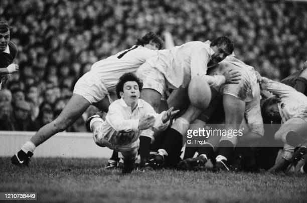 British rugby union Scrum-half Richard Harding of England clears the ball as England play France in their opening match of the 1985 Five Nations...