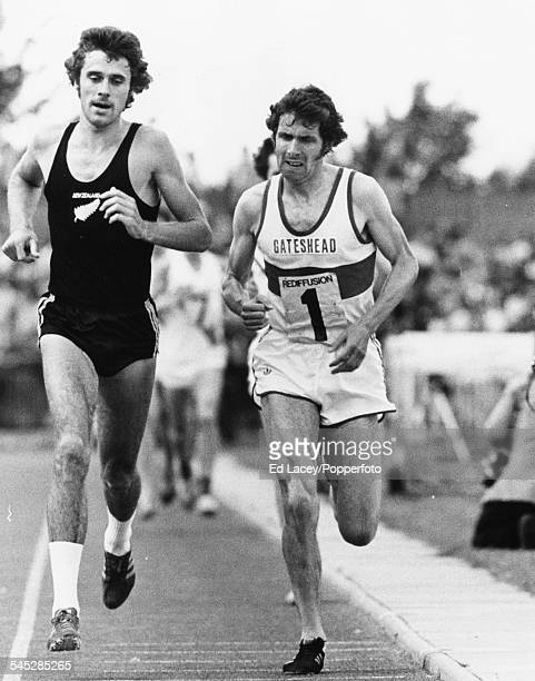 British runner Brendan Foster and his New Zealand counterpart Rod Dixon lead the field during the 5000m race at the Rediffusion Gateshead Games...