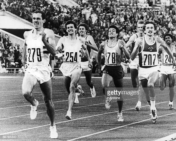 British runner Steve Ovett about to win the 800 metres final at the Moscow Olympics July 1980 British runner Sebastian Coe won the silver medal with...