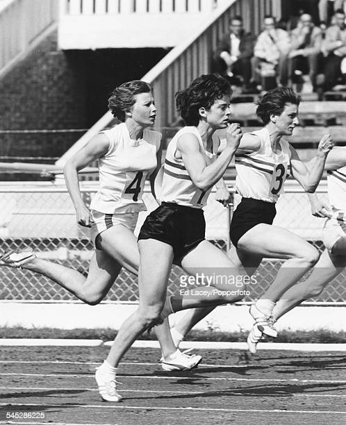 British runners Dorothy Hyman Daphne Arden and Mary Rand compete in the 100m event at the British Empire Games August 25th 1962