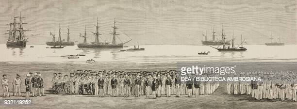 British sailors and the British fleet at anchor United Kingdom illustration from the magazine The Graphic volume XXVI no 660 July 22 1882