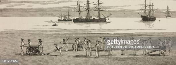British sailors with guns the British fleet at anchor United Kingdom illustration from the magazine The Graphic volume XXVI no 660 July 22 1882