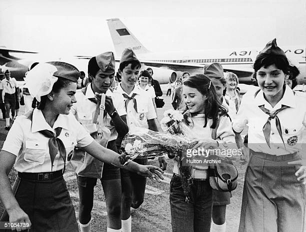 British schoolgirl Samantha Smith is greeted by Russian Young Pioneers at the airport Crimean Peninsula Russia July 9 1972 Smith had written a letter...