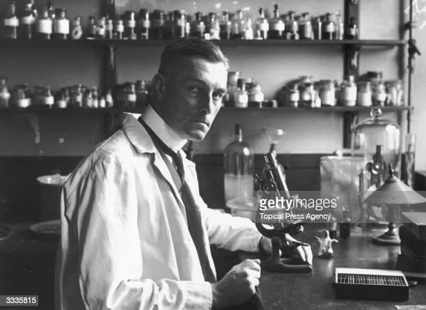 British scientist and pioneering pathologist Sir Bernard Spilsbury at St Bartholomew's Hospital London