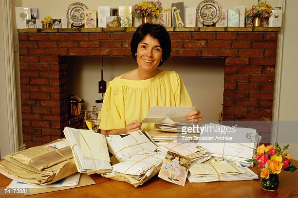 British scientist Mary Archer, Chairman of the National Energy Foundation and wife of the disgraced Lord Jeffrey Archer, opens letters of support at...