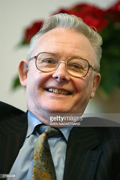 British scientist Peter Mansfield who jointly won the Nobel Prize for Medicine together with American Paul C Lauterbur for their work on MRI smiles...
