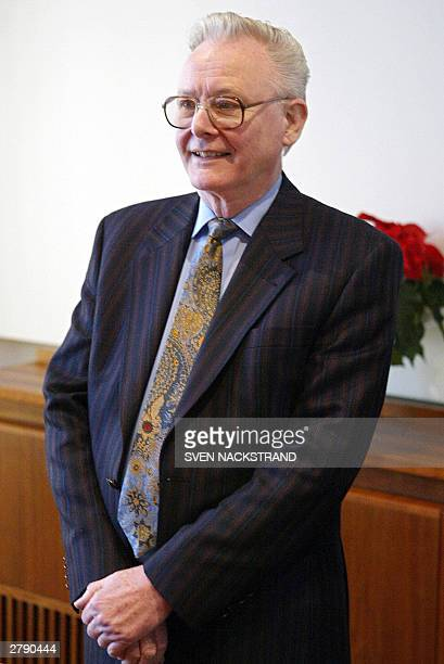 British scientist Peter Mansfield who jointly won the Nobel Prize for Medicine together with American Paul C Lauterbur for their work on MRI stands...