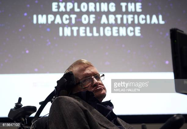 British scientist Stephen Hawking arrives to attend the launch of The Leverhulme Centre for the Future of Intelligence at the University of Cambridge...