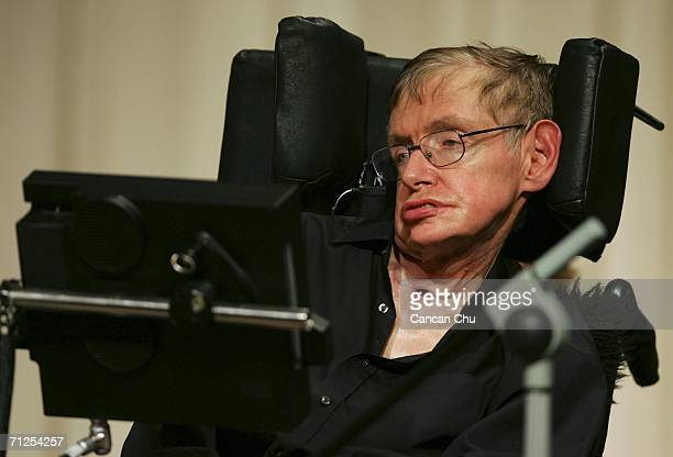 British scientist Stephen Hawking attends a conference during the 2006 International Conference on String Theory on June 21 2006 in Beijing China...