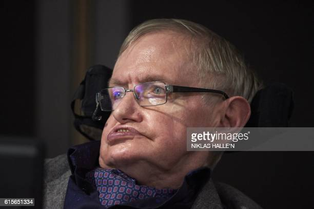 British scientist Stephen Hawking attends the launch of The Leverhulme Centre for the Future of Intelligence at the University of Cambridge in...