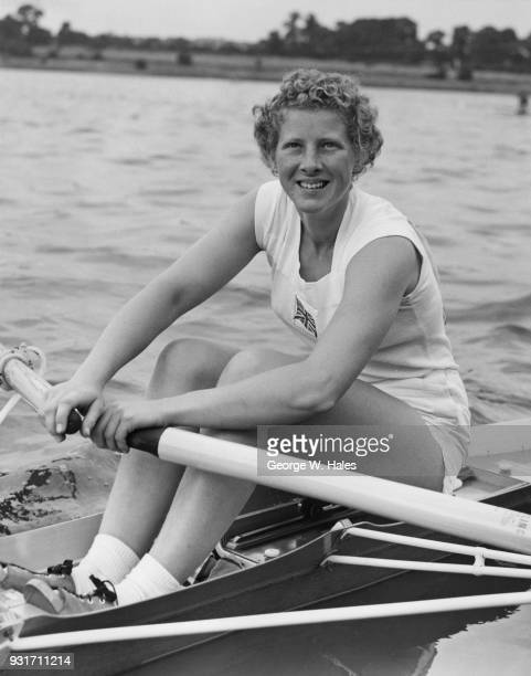 British sculling champion Penelope Chuter of the Laleham Skiff and Punting Club after beating Gisela Jaeger of Germany in the skiff race on the Welsh...