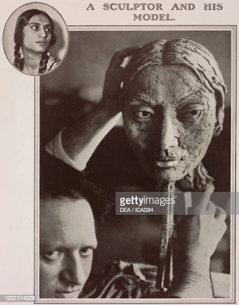 British sculptor Jacob Epstein with a bust of Sunita Devi photograph by Maurice Beck and Helen MacGregor from The Tatler No 1388 February 1 London