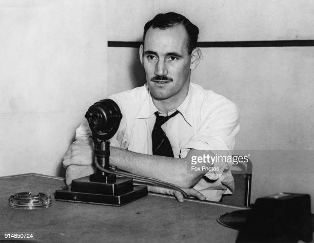 British seaman Frank Laskier makes one of his popular broadcasts during World War II, circa 1942. A gunner in the Merchant Navy, Laskier's ship was...