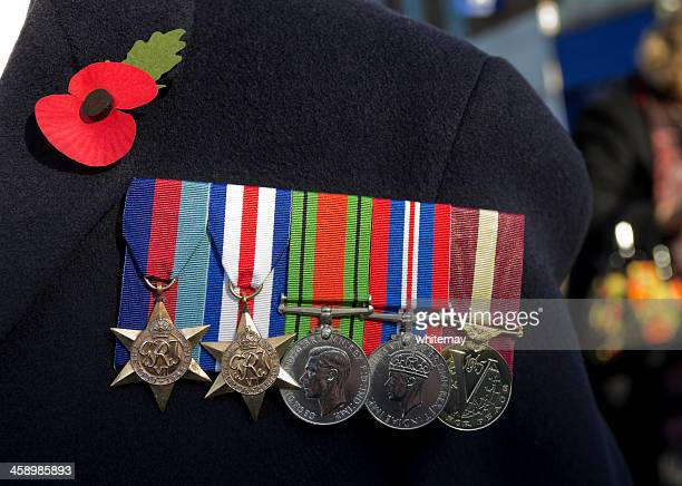 british second world war veteran's medals - remembrance sunday stock photos and pictures