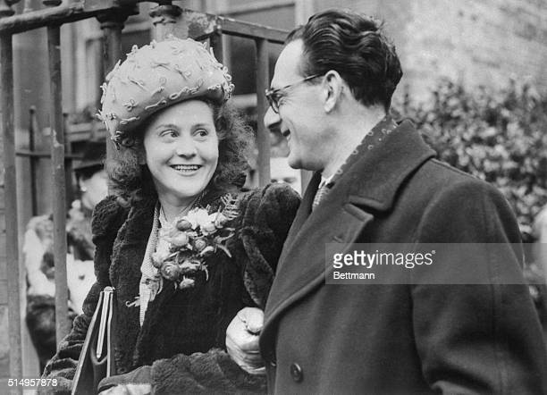 A British secret agent during the war Mrs Odette Sansom who won the George Cross for espionage work in German occupied Europe is shown with her...
