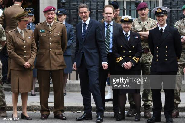 British Secretary of Defence Gavin Williamson arrives at No10 for the Armed Forces Day breakfast meeting with the Prime Minister and Military...