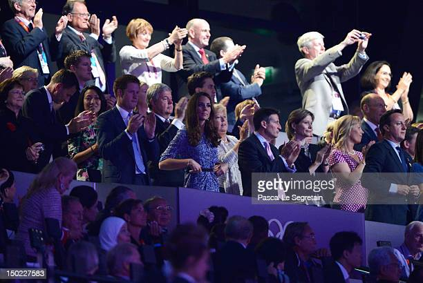 British Secretary of State for Culture Olympics Media and Sport Jeremy Hunt and his wife Lucia Liu Prince Harry Catherine Duchess of Cambridge LOCOG...