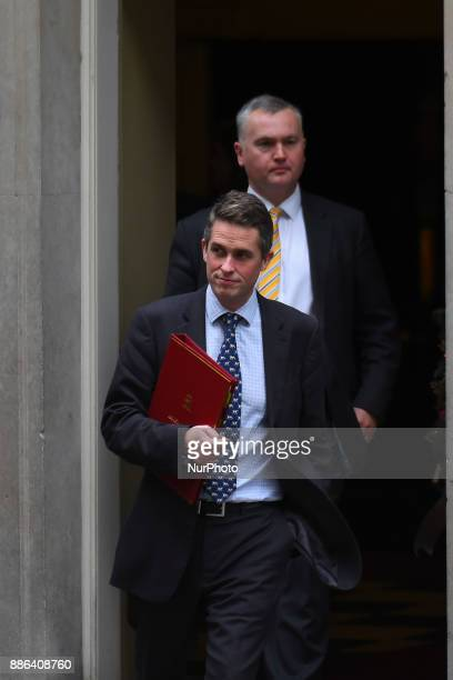 British Secretary of State for Defence Gavin Williamson leaves 10 Downing Street following the weekly Cabinet Meeting London on December 5 2017