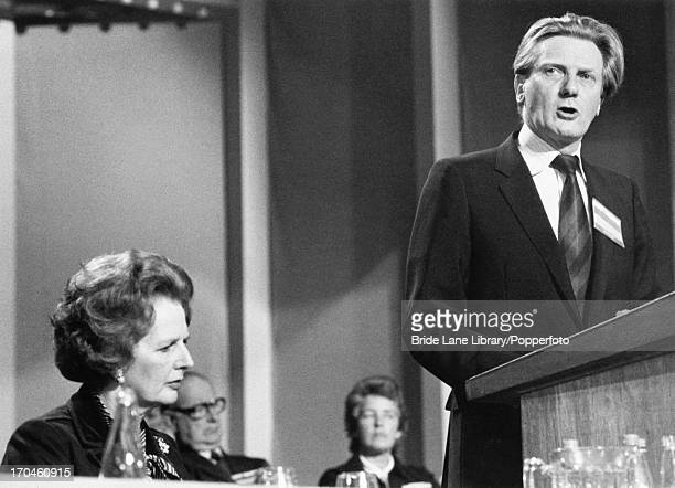 British Secretary of State for Defence Michael Heseltine speaking at the Conservative Party conference in Blackpool as Prime Minister Margaret...