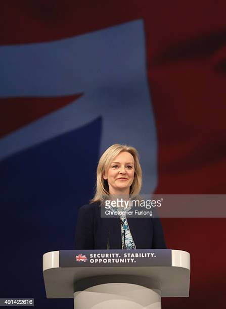 British Secretary of State for Environment Food and Rural Affairs Liz Truss addresses delegates on the second day of the annual Conservative party...
