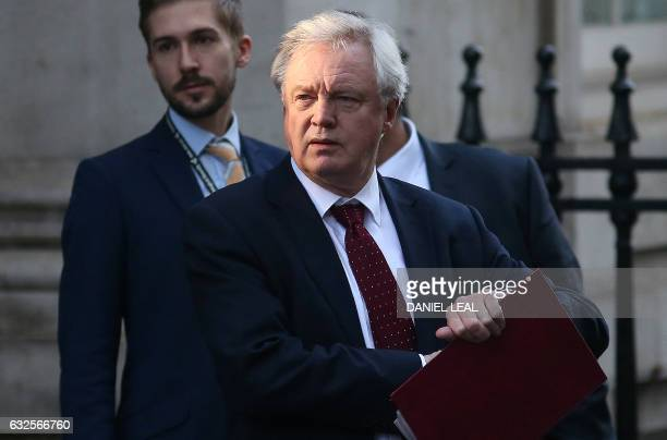 British Secretary of State for Exiting the European Union David Davis leaves Downing Street in central London on January 24 to head for the House of...
