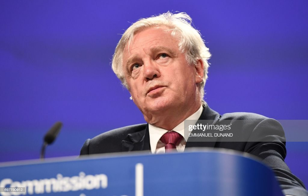 British Secretary of State for Exiting the European Union (Brexit Minister) David Davis addresses a press conference at the end of the first day of Brexit negotiations at the European Commission in Brussels on June 19, 2017. Britain and the European Union started Brexit negotiations in Brussels on June 19, 2017. /
