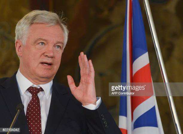 British Secretary of State for Exiting the European Union David Davis gestures during a joint press conference with Czech Foreign Minister Lubomir...
