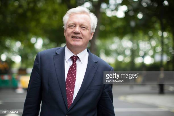 British Secretary of State for Exiting the European Union David Davis leaves Millbank studios after a radio interview on August 15 2017 in London...