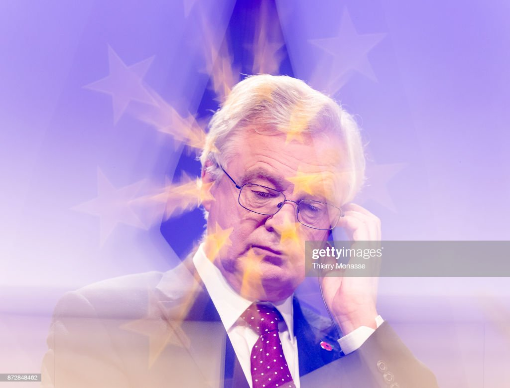 British Secretary of State for Exiting the European Union David Davis and the European Chief Negotiator for the United Kingdom Exiting the European Union (Unseen) are talking to media about the 6th round of negotiation on Brexit on November 10, 2017 in Brussels, Belgium. United Kingdom and the European Union negotiate in the aftermath of the United Kingdom European Union membership referendum in June 2016.