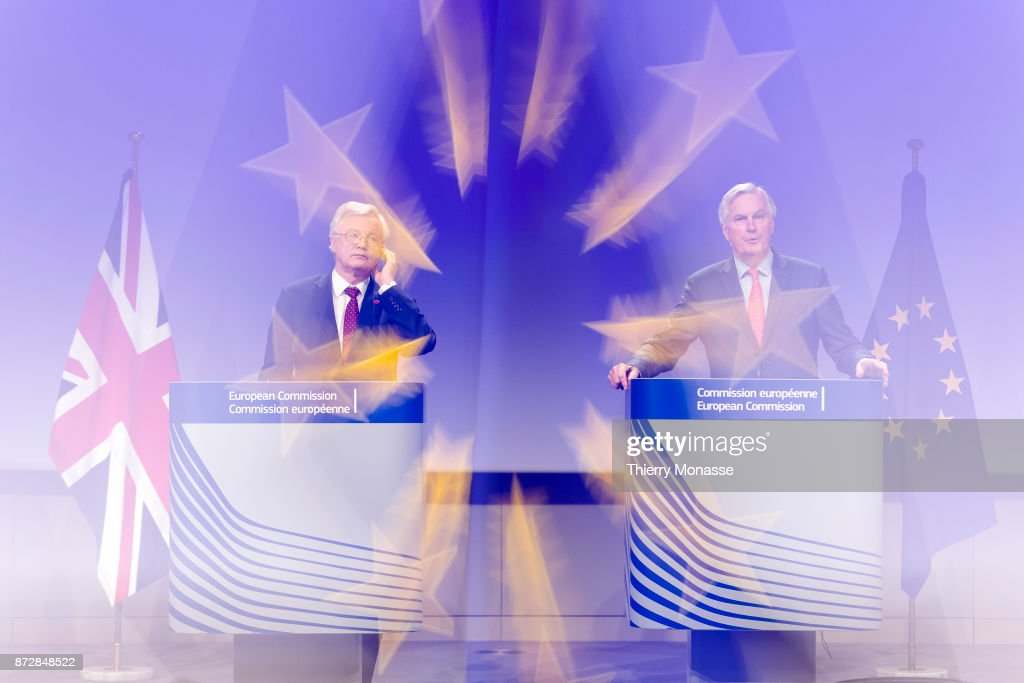 British Secretary of State for Exiting the European Union David Davis (L) and the European Chief Negotiator for the'nUnited Kingdom Exiting the European Union Michel Barnier are talking to media about the 6th round of negotiation on Brexit on November 10, 2017 in Brussels, Belgium. United Kingdom and the European Union negotiate in the aftermath of the United Kingdom European Union membership referendum in June 2016.