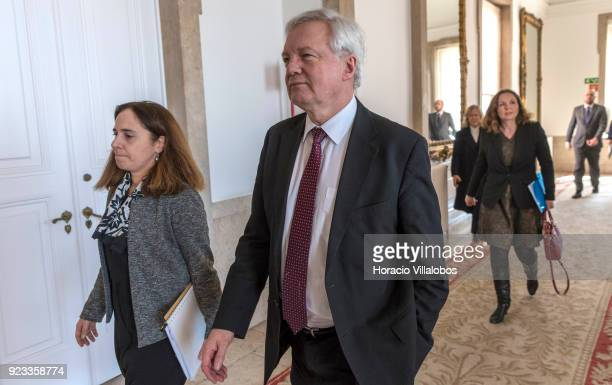 British Secretary of State for Exiting the European Union David Davis arrives in the Portuguese Foreign Ministry to meet with Portuguese Foreign...