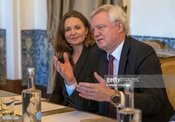 British Secretary of State for Exiting the European Union David Davis gesture while meeting with Portuguese Foreign Minister Augusto Santos Silva in...