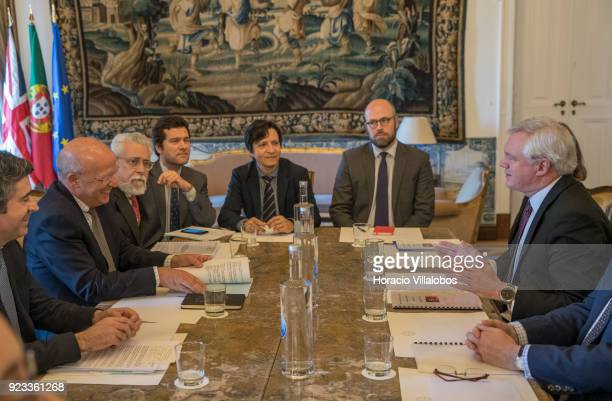 British Secretary of State for Exiting the European Union David Davis meets with Portuguese Foreign Minister Augusto Santos Silva in the Portuguese...