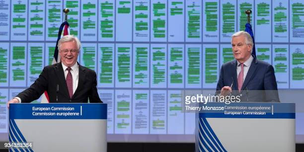 British Secretary of State for Exiting the European Union David Davis and the European Chief Negotiator for the United Kingdom Exiting the European...