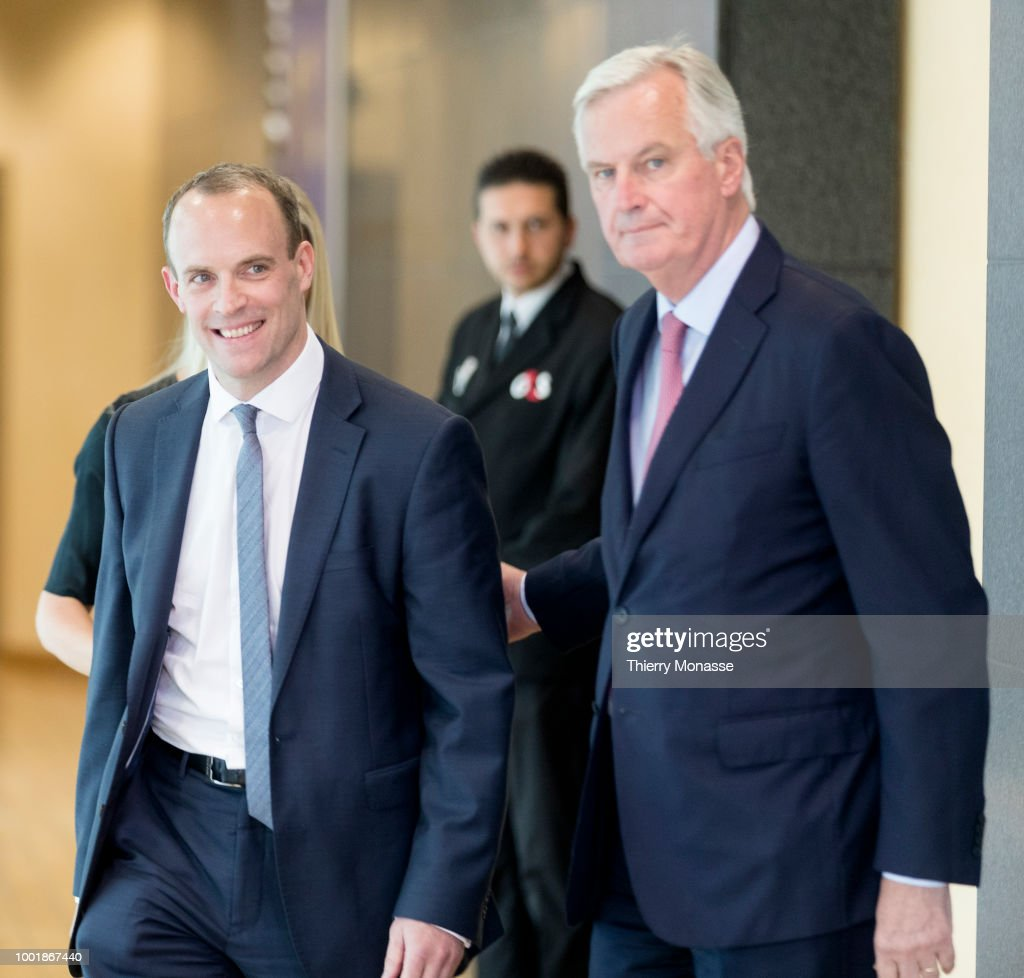 Britain's New Brexit Minister Dominic Raab Has First Meeting With EU's Michel Barnier