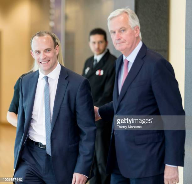 British Secretary of State for Exiting the European Union Dominic Raab meets European Chief Negotiator for the United Kingdom Exiting the European...