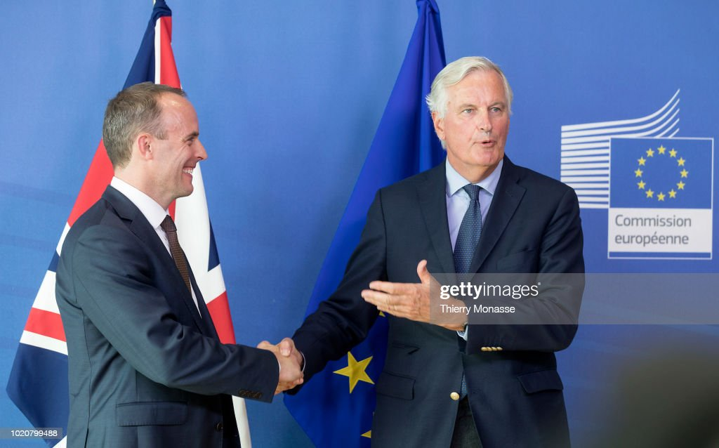 Britain's Brexit Minister Dominic Raab Meets With EU's Michel Barnier