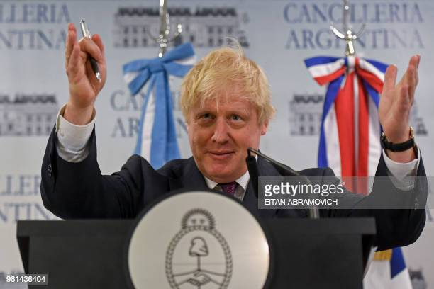 British Secretary of State for Foreign Affairs Boris Johnson, speaks during a joint press conference with Argentine Foreign Minister Jorge Faurie and...