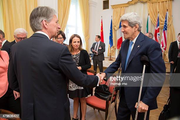 British Secretary of State for Foreign and Commonwealth Affairs Philip Hammond and John Kerry Foreign Minister of the United States of America meet...