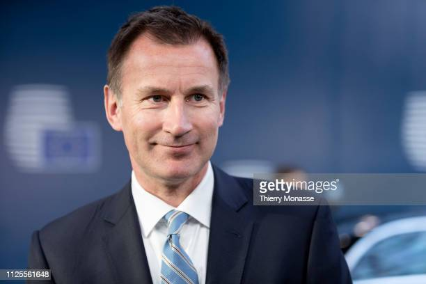 British Secretary of State for Foreign and Commonwealth Affairs Jeremy Hunt arrives for a Foreign Affairs Council at the Europa, the EU Council...