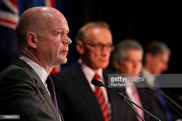 British secretary of state for foreign and commonwealth affairs William Hague addresses the media together with Australian foreign affairs minister...