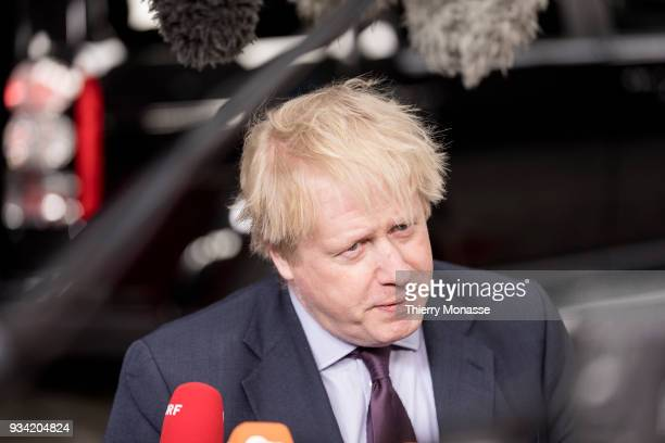 British Secretary of State for Foreign Commonwealth Affairs Boris Johnson talks to media prior an EU foreign affairs Ministers meeting in the Europa...