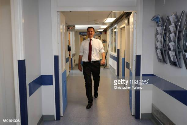 British Secretary of State for Health Jeremy Hunt during a visit to the Renal Transplant Unit with the Prime Minister at the Royal Liverpool...